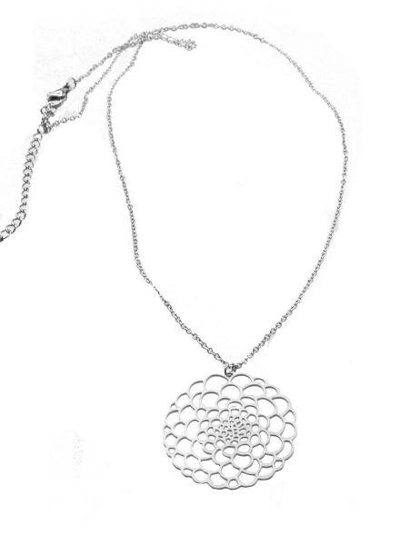 Edelstahlkette mit Anhänger Blume, silber matt, ca 45cm+5cm Regulation, Anhänger 35mm