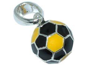 CB-Sportsfashion Anhänger versilbert, Fussball 12mm schwarz/gelb