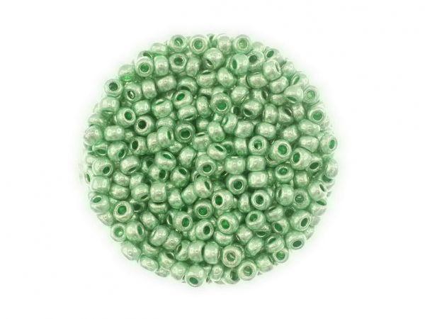 Rocailles, 2.6mm (9/0-10/0), Metallfarben, 14g Döschen, grün