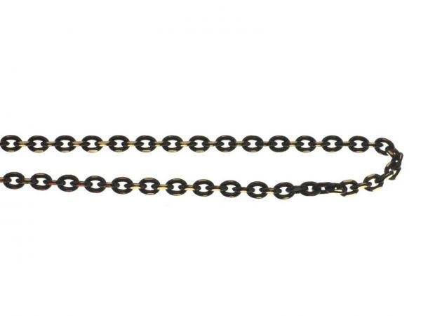 Schmuckkette color facettiert, oval ca.2,5x3mm, messing, 1m, schwarz