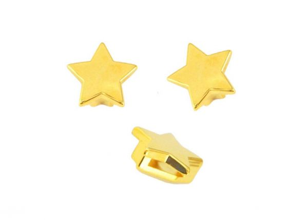 Armbandelement Stern, 16mm, für 10mm Lederband etc.1 Stück, gold