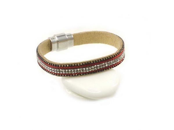 Armband mit glitzernden Strasssteinen, ca.10mm breit, 18,5cm lang, mit Magnetverschluss, rotbraun