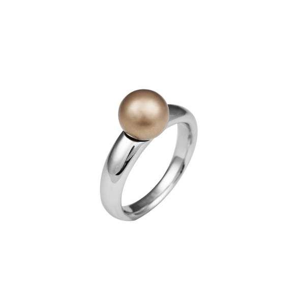 Perle für Edelstahl Wechselring, braun matt