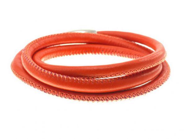 Lederarmband, 5mm Leder, gesäumt, 3fach ca.19,5cm, Edelstahl Magnetverschluss, orange