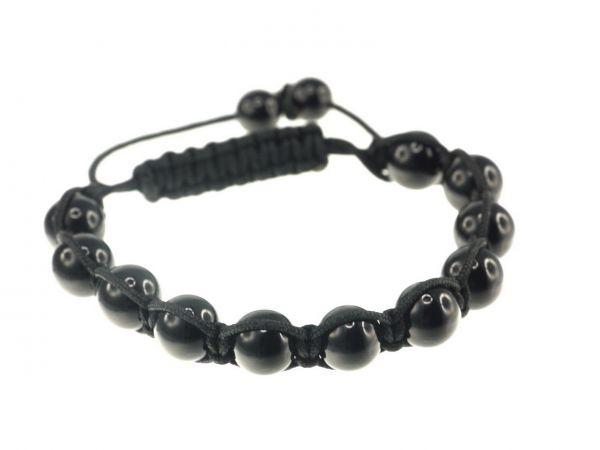 Glitzerkugel Armband schwarz, mit 11Onyx Perlen 10mm