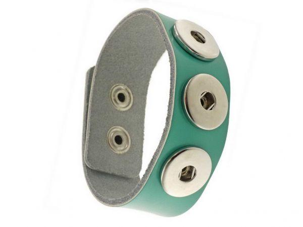Click-it Button Lederarmband, türkis, 24mm breit, 19,5-21cm verstellbar, für 18mm Buttons
