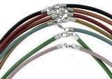 Ledercollier 3mm metallic-rost Sterlingsilber Verschluss ca. 45 cm
