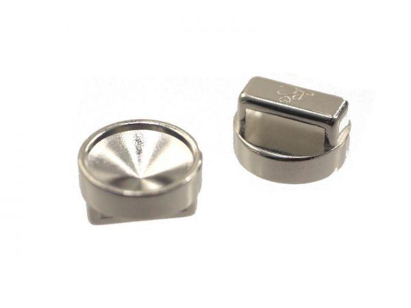 Slide-it Armbandelement, rund, 14mm , zum einkleben von 12mm Steinen, palladium Silber