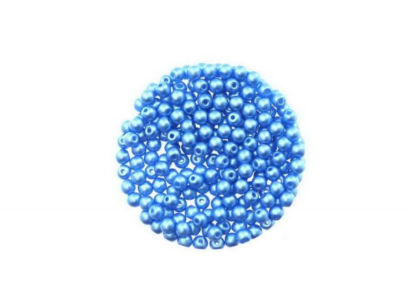 Glasperle, rund, 3mm, ca.200St. Dose, wachsfarben, aqua