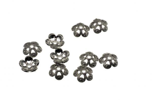 Perlkappe Metall Flower ca.10x3mm,altsilber, 10 Stück