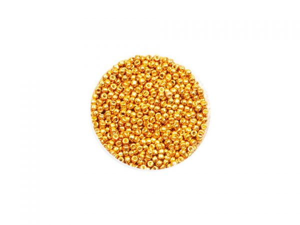 Toho Rocailles 11-0, 2,2mm, metallic, permanent finish,10g Golden Ochre PF591