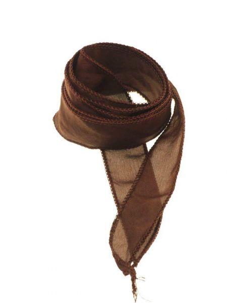 """Seidenband """"Silky"""" handcoloriert, Habotai Seide, ca.20mm breit, ca.1,00m, dkl. braun"""
