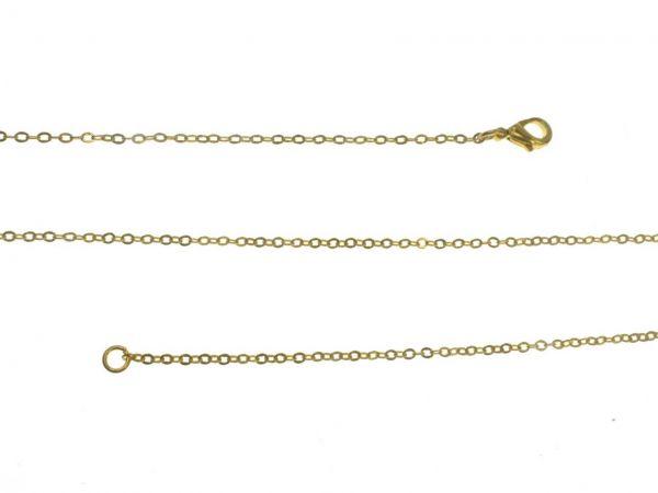 Ankerkette, runde 2,0mm Glieder, Messing vergoldet , ca. 80cm lang, Karabinerverschluss