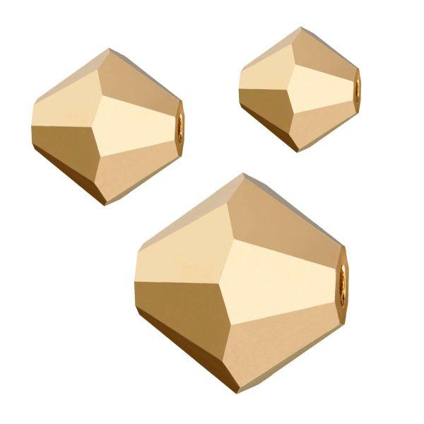 Preciosa Kristall Doppelkegel 3mm 50St., crystal Aurum f