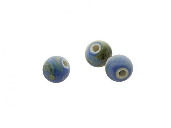 Keramikperlen marmoriert, 10mm, Bohrung 2mm, 10 Stck. Btl., blau-oliv