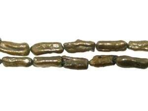 Biwaperlen, länglich 20x10mm olive
