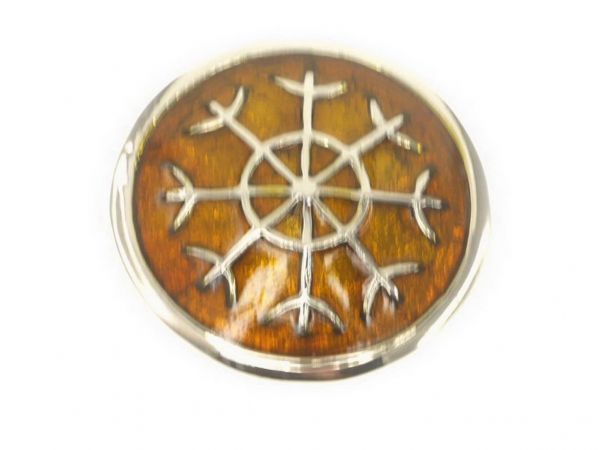 CB Button Ornament, Emaille braun 30mm,
