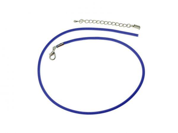 Kautschukcollier 3mm blau-silb