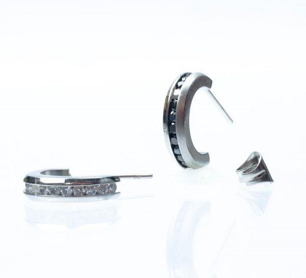 Edelstahl Creolen 12,5x3mm mit Strass, crystal