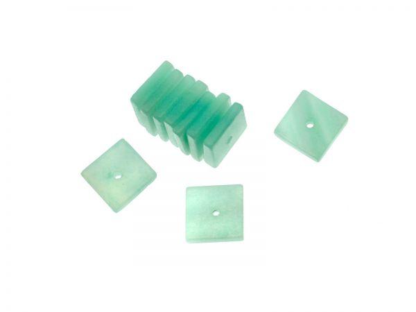 Amazonite Quadrat ca. 8x8mm, ca.1,5mm dick, Bohrung ca.0,6mm, Packung 10 Stück