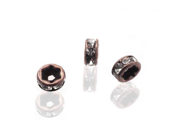 Strassradl 6mm, 10 Stück, kupfer/crystal