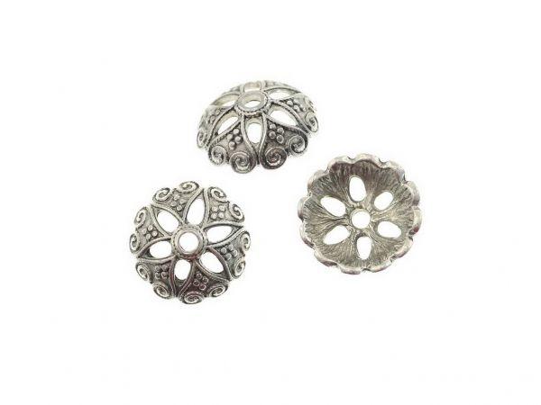 Perlkappe Metall Flower ca. 20mm, antiksilber