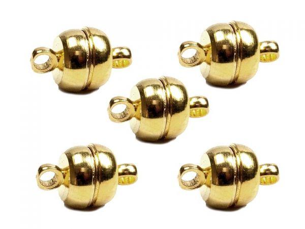 Magnetverschluss rund, 7mm mit Öse 2mm, vergoldet