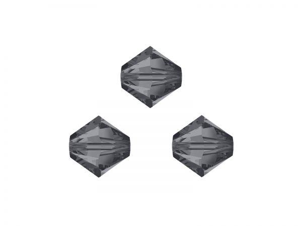 Swarovskiperlen, Doppelkegel, konisch, 5328, 4mm Silver Night