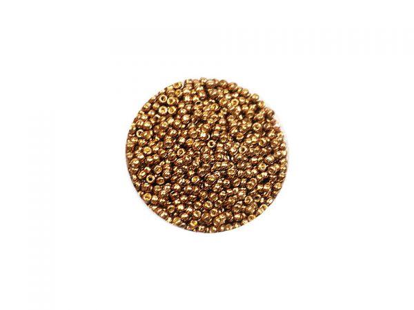 Toho Rocailles 11-0, 2,2mm, metallic, permanent finish,10g Golden Brown PF594