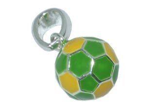 CB-Sportsfashion Anhänger versilbert, Fussball 12mm gelb/grün