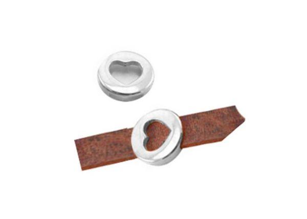 Armbandelement Herz , 18mm, für 10mm Lederband etc.1 Stück, antiksilber