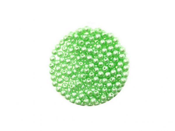 Glasperle, rund, 3mm, ca.200St. Dose, wachsfarben, mint