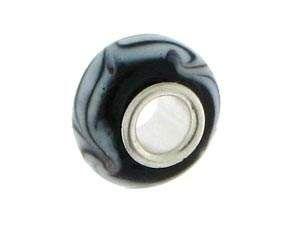 FreeStyle NF Glasperlen m. Sterlingsilber ca.8x14mm, schwarz/weiss