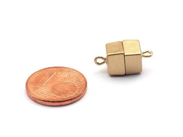 Magnetverschluss Powerclip DE, Würfel 7mm, gold matt