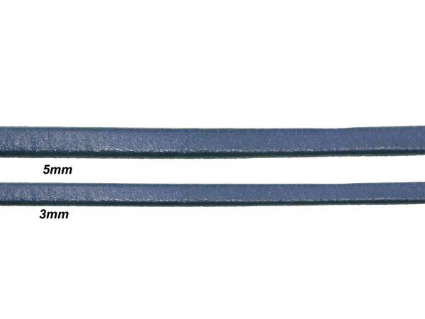 Lederschnur, flach, 3mm breit, 1mm dick, blau