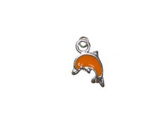 20 Stück Anhänger Delfin 14x21mm orange