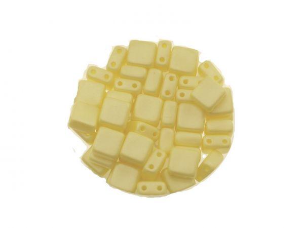 "Glasperle ""Quadro"", 2Bohrungen, 6mm, 50 St. Dose, pastell gelb"