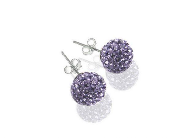 Diamondballs Ohrstecker, 8mm, Sterlingsilber, lila