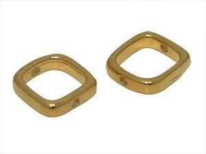 Metallzierteil quadrat abgerundet ca.14mm, goldfarbig