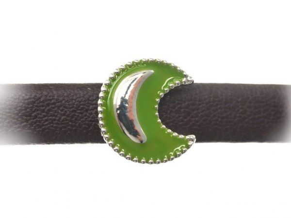 Slide-it Armbandelement, rhodiumfarbig, flach, Mond, oliv