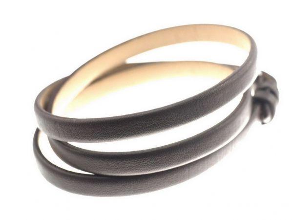Slide-it Lederarmband, flach, 3fach, braun , Verschluss rosegold