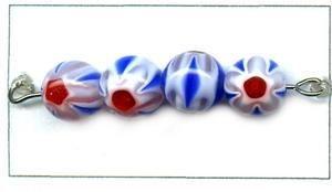 Glasperle Flower rund, ca. 8mm Strang 40 cm ca 50 Stck blau