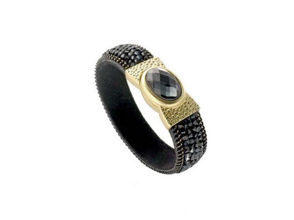 Armband Exclusiv, mit glitzernden Glas- u.Strasssteinen, Magnetverschluss, 19,5cm, schwarz