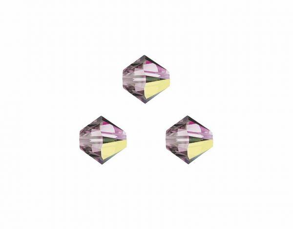 Swarovskiperlen, Doppelkegel, konisch, 5328, 3mm crystal lila shadow