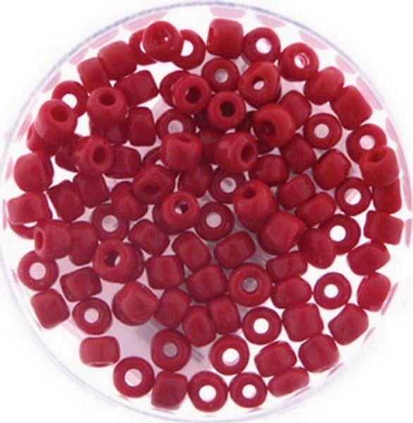 Rocailles 6/0 4mm 15 gramm, opak rot