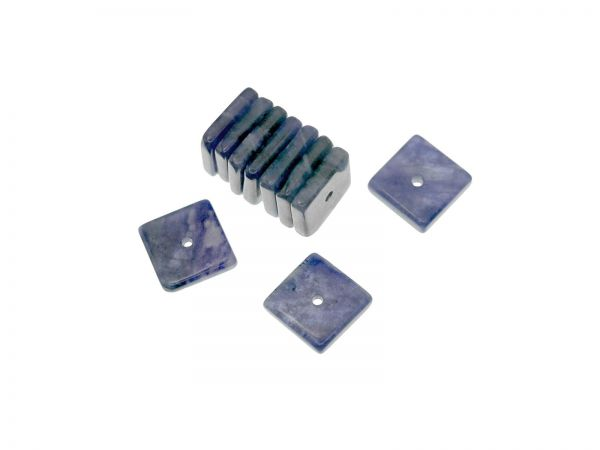 Sodalite Quadrat ca. 8x8mm, ca.1,5mm dick, Bohrung ca.0,6mm, Packung 10 Stück