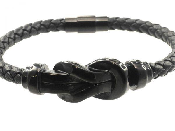 Lederarmband Edelstahl, ca 21cm lang, rundes, geflochtenes Leder 5mm, schwarz eloxiert Edelstahl Mag