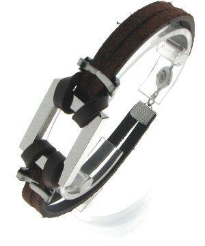 Edelstahl Armband, 20,5 cm, Rechteck 26 x 20mm, Stahl/Wildleder, silber/braun