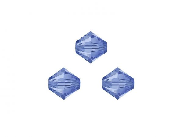 Swarovskiperlen, Doppelkegel, konisch, 5328, 3mm light sapphire