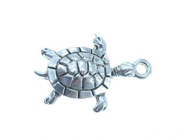 10 Stück Metallzierteil Schildkröte, ca.27x18mm, hellsilber